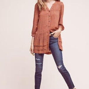 Anthropologie Holding Horses Orange Pavin Tunic